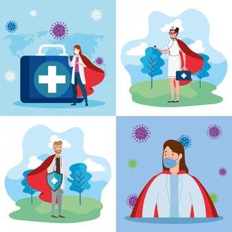 Установите иллюстрацию супер врачей с плащом героя