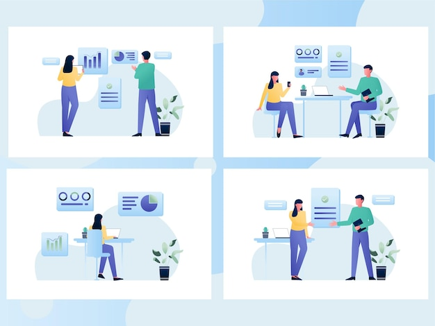 Set illustration of a people checking data analytics concept