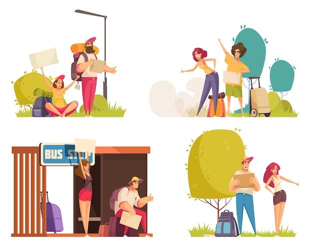 Set of illustration of people hitchhiking