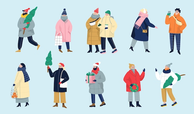 Set of   illustration of people wearing warm winter clothes.
