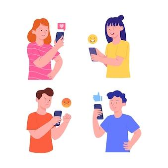 Set of illustration people with gadget reaction emoticon social media illustration