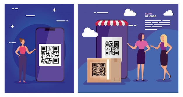 Set illustration of scan code qr with characters