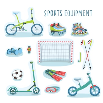 Set of  illustration of sport equipment set
