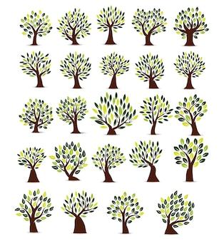 Set illustration tree icon in white background