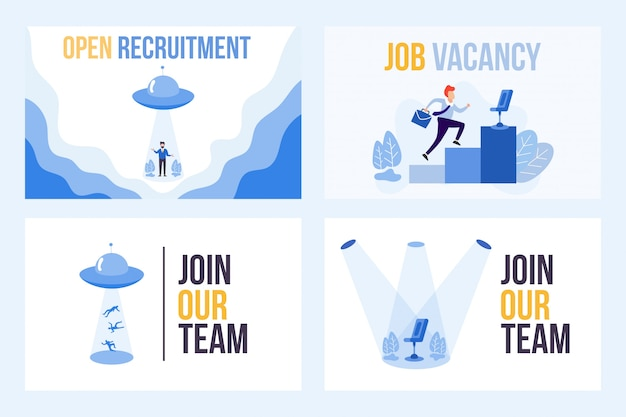 Set illustration of vacancy with we are hiring word. ufo attracts people