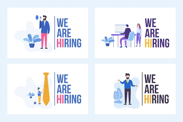 Set illustration of vacancy with we are hiring word