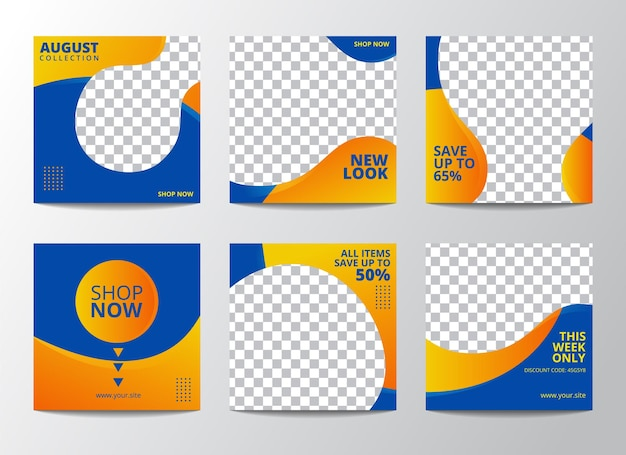 Set of illustration vector graphic of editable minimal square banner template. suitable for social media post and web internet ads with photo college