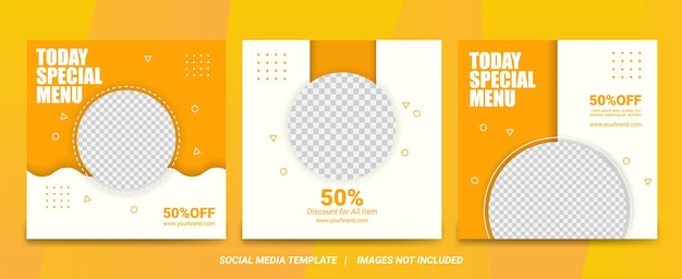 Set of illustration vector graphic of modern clean food menu social media banner with yellow and suitable for social media post