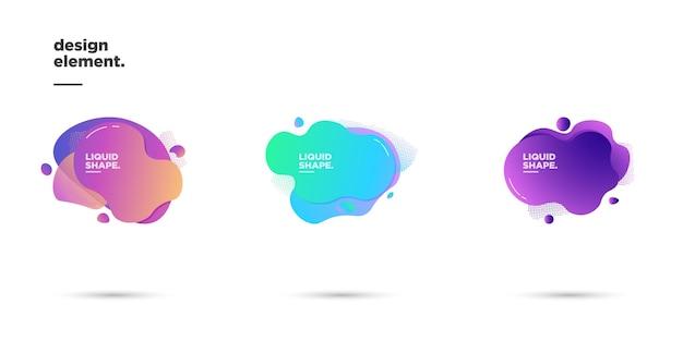 Установите иллюстрацию векторной графики современных абстрактных динамических цветных форм и линейных элементов. градиент абстрактный фон плавные жидкие формы. шаблон для дизайна флаера, презентации