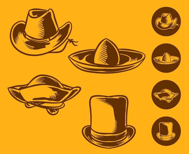 Set illustration of vintage hipster hats