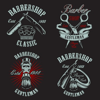Set illustration in vintage style for barbershop with skull on the dark background.