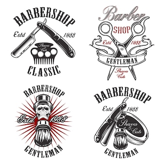Set illustration in vintage style for barbershop with skull, razor, scissors