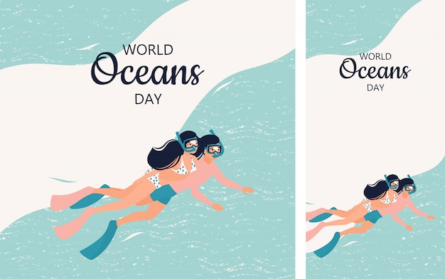 Set of illustration with a couple of divers for world oceans day in instagram format