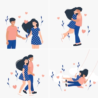 Set of illustration with cute loving couples