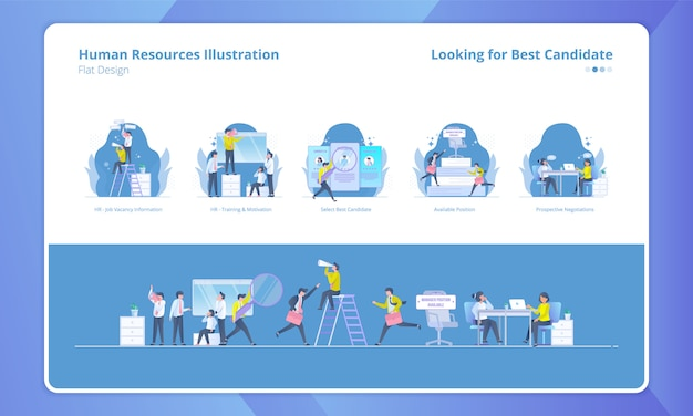 Set of illustration with human resources theme, looking for best candidate