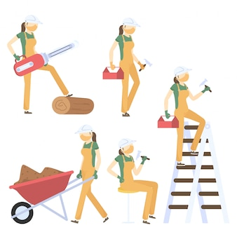 Set of illustration of woman contractor on white background.