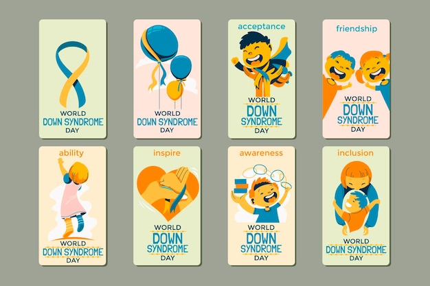 Set of illustration of world down syndrome day for social media story