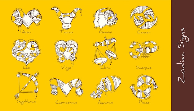 Set of   illustration of zodiac signs in boho style. aries, taurus, gemini, cancer, leo, virgo, libra, scorpio, sagittarius, capricorn, aquarius, pisces.