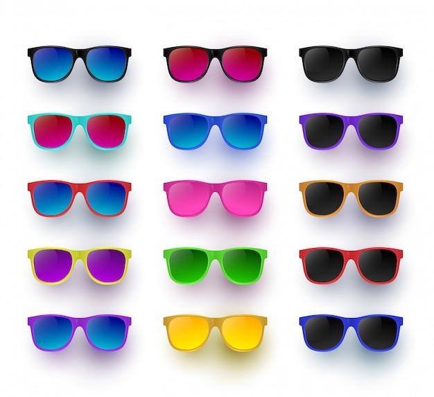 Солнцезащитные очки set-illustration тень и фон находятся на отдельных слоях. прозрачная линза.