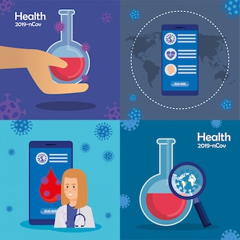 Set of illustrations about health and coronavirus pandemic. Premium Vector