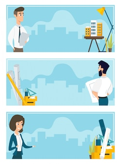 Set of illustrations of architects at work