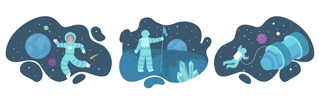 Set of illustrations of astronauts on outer space