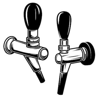 Set of illustrations of beer taps. design element for poster, emblem, sign, logo, label, flyer. vector illustration