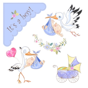 Set of illustrations for the birth of a boy. stork with baby. baby shower.
