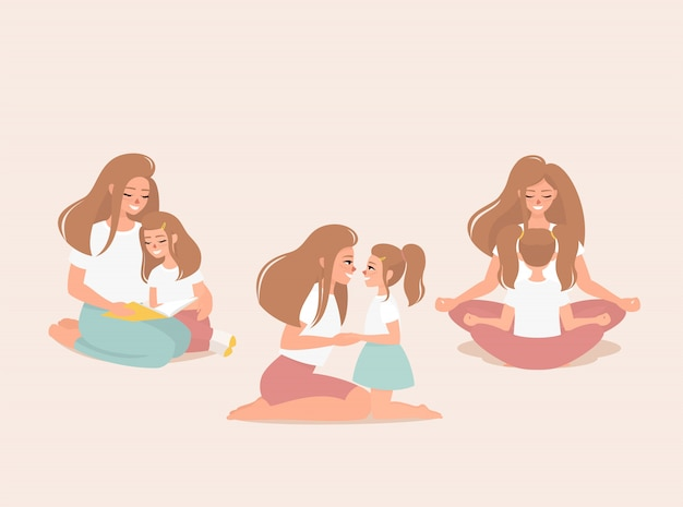 Set of illustrations of a blond happy mother with a daughter