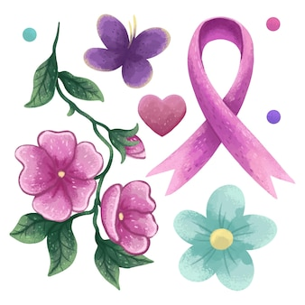 Set of illustrations for breast cancer day, ribbon symbol, heart, flowers, mallow, colored circles, butterfly