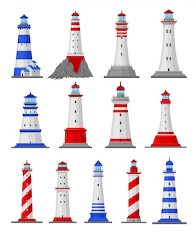 Set of illustrations of different types of lighthouses.  illustration.