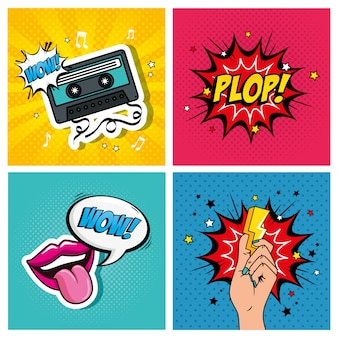 Set of illustrations and expressions style pop art