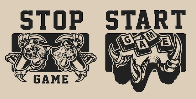 Set of illustrations on a gaming theme with a joystick on a white and black background. the text is in a separate group.