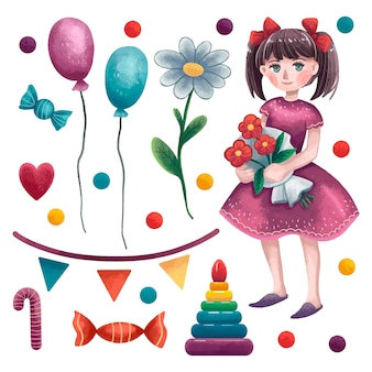A set of illustrations for girls ' day, a girl in a dress with two tails with flowers in her hands, balloons, chamomile, sequins, colored balls, pyramid, flags, thread, heart, candy, lollipop