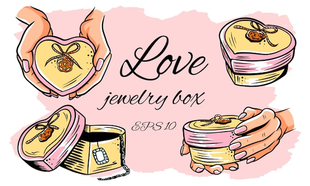 Set of illustrations. heart-shaped jewelry box. opened box, in hands. isolated illustration