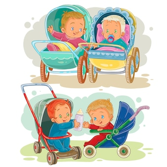 Set illustrations of little kids in a baby carriage and stroller