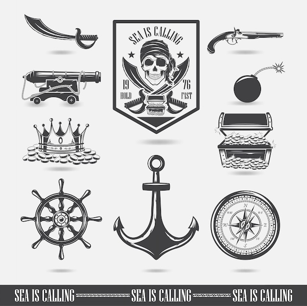 A set of illustrations, marine themes, icons and logos of the skull. pirates vector