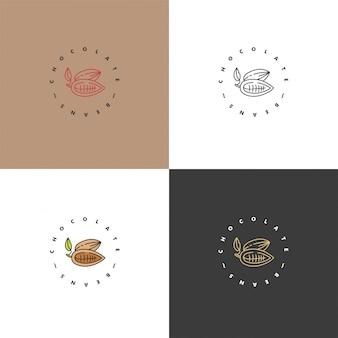 Набор иллюстраций логотипов какао-бобов. линейный стиль иконки. шоколадные бобы какао.