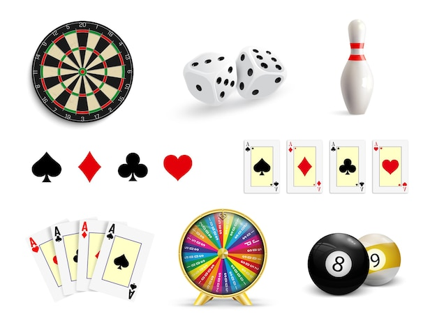 ギャンブルのイラストを設定します。ポーカー、カジノ、ダーツ、ボウリング、運命の輪、サイコロ。ギャンブルのアイコンを設定します。