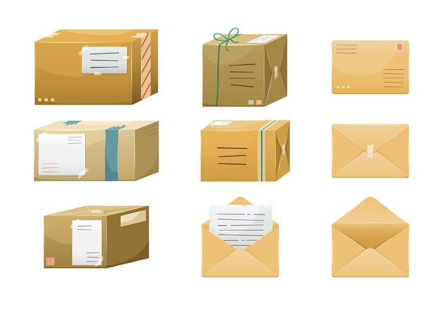 Set of illustrations of postal parceles in boxes with a delivery address and envelopes
