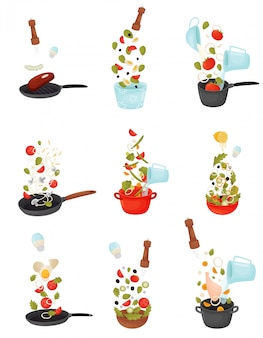 Set of  illustrations of the process of cooking salad, soup, roasting meat and fish.