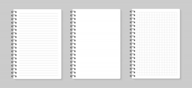 Set of illustrations sheets paper. lined and square, on gray background