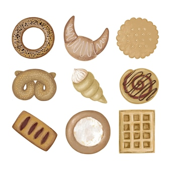 Set of illustrations of sweet pastries