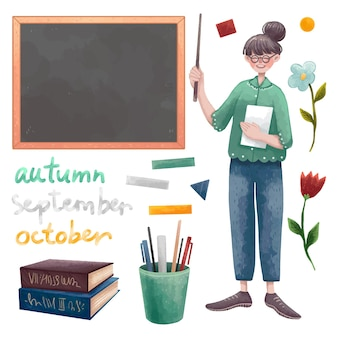A set of illustrations for the teacher's or tutor's day. a teacher's character, a blackboard, chalk inscriptions, chalk, books, magnets, flowers, a glass with pens and pencils