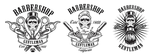 Set of illustrations in vintage style for a barber shop  on a white background. illustration in an  group.