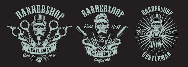 Set of illustrations in vintage style for a barber shop with skulls