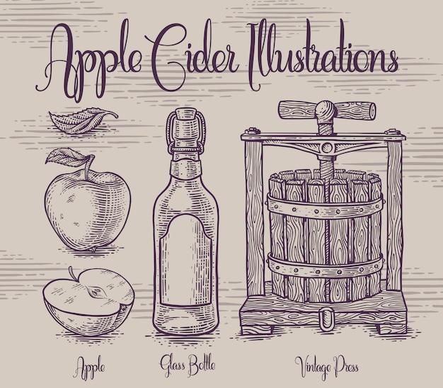 Set of illustrations with apple cidre