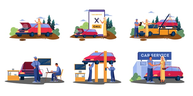 Set of illustrations with broken down car on a road. female calls to get help for transporation to mechanic service. driver have her car fixed.