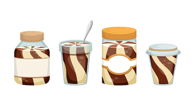 Set of illustrations with cans of chocolate paste