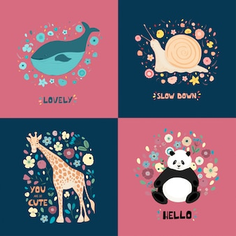 A set of illustrations with cute animals, flowers and hand lettering. giraffe, panda, snail, whale